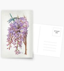 Wisteria Flower with Blue and Green Dragonfly Postcards
