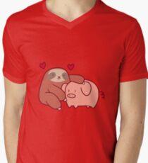 Faultier liebt Schwein T-Shirt mit V-Ausschnitt für Männer