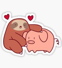 Faultier liebt Schwein Sticker