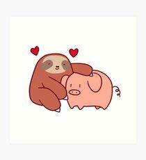 Sloth Loves Pig Art Print