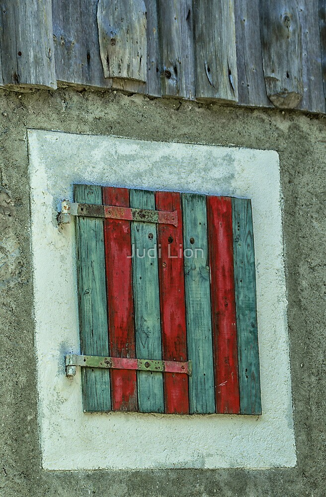 Blue and red shutter by Judi Lion
