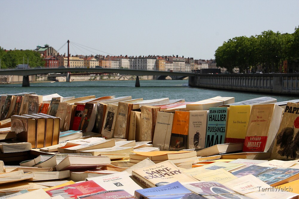 Book Market by the Saône River In Lyon France by TerrillWelch