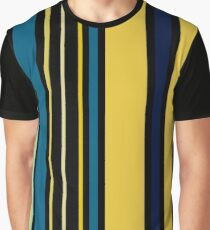 Teal blue and Yellow Stripes Graphic T-Shirt
