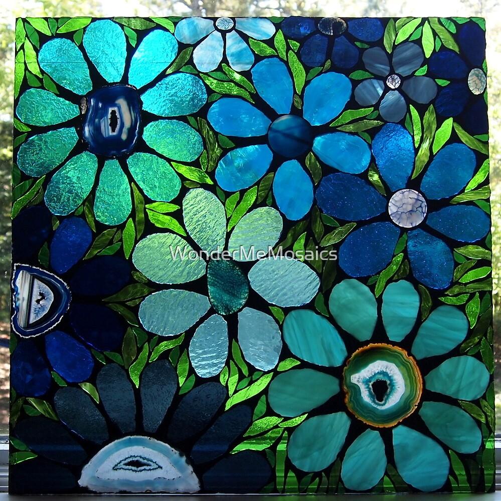 Blue Flower Garden - Mosaic Art by WonderMeMosaics