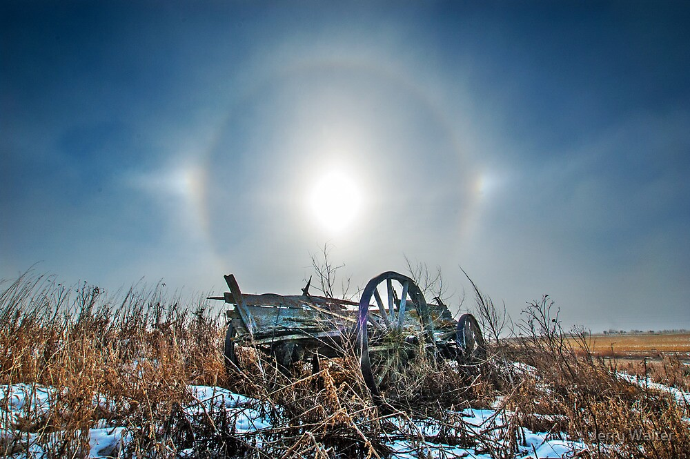 Sundogs and Old Wagon by Jerry Walter