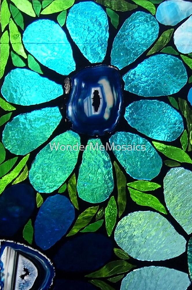 Blue Flowers - Mosaic Art by WonderMeMosaics