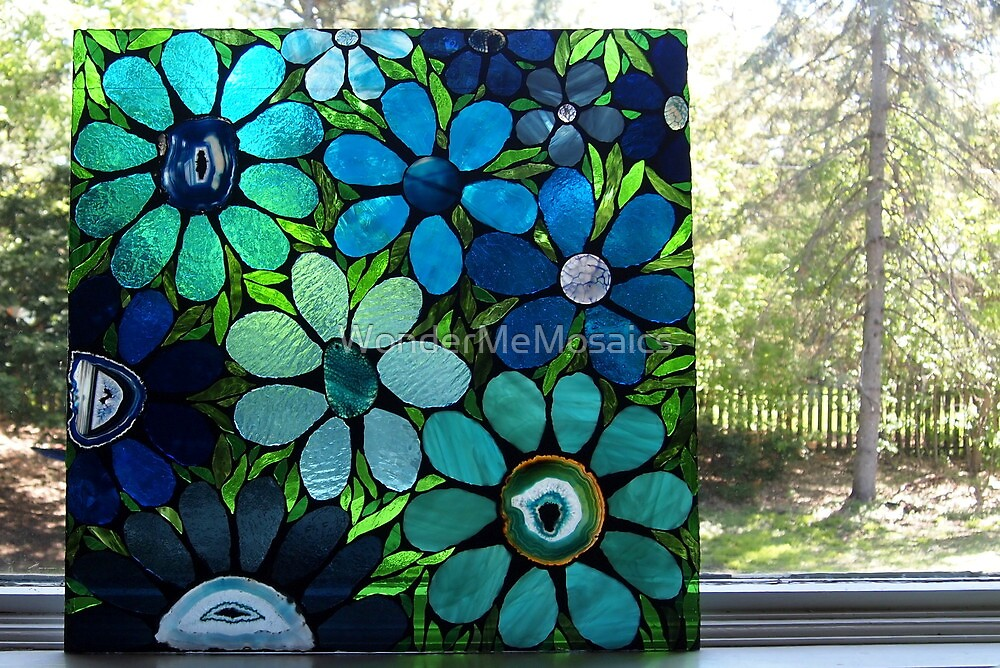 Garden of Blue Flowers in Window - Mosaic Art by WonderMeMosaics