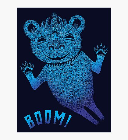 Turquoise Bear Goes Boom Photographic Print