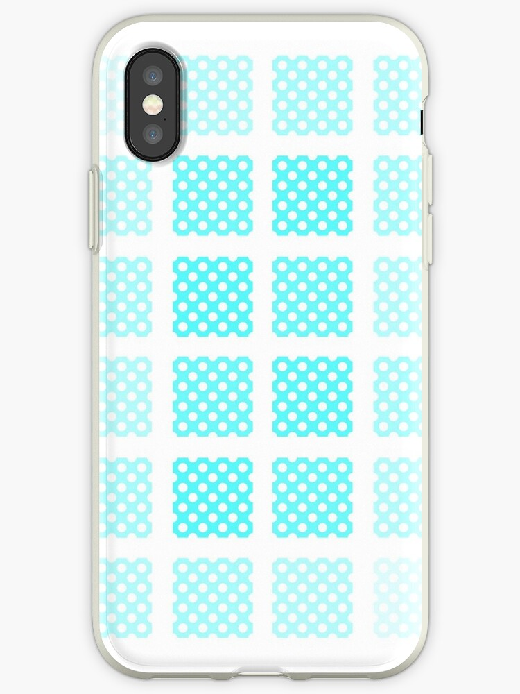 Blue polka-dot hatched phone case by SENOVI