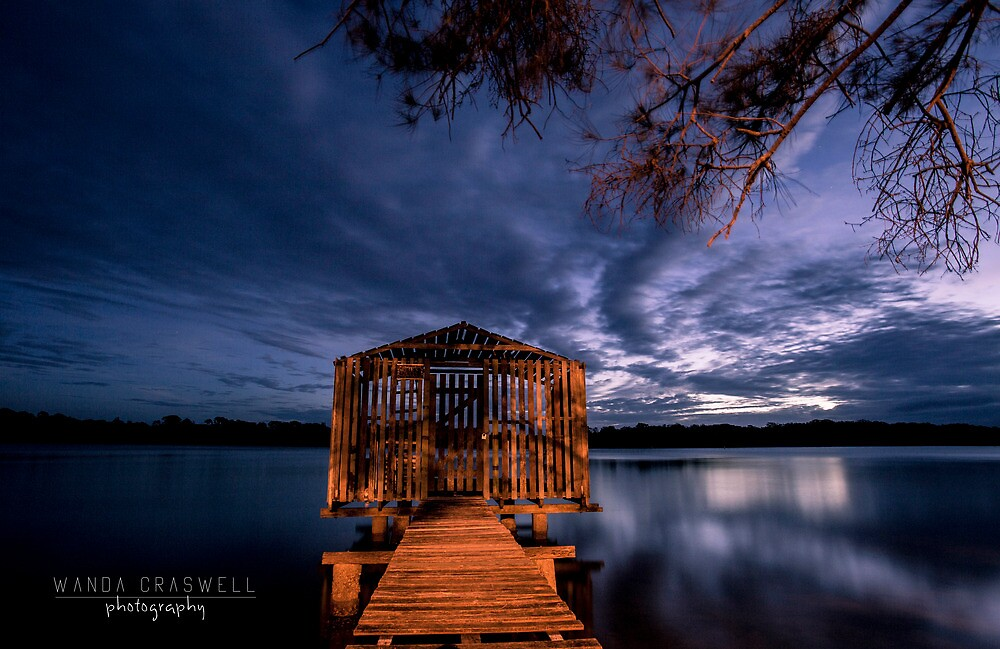 Tiny boathouse on the river, Maroochy River Queensland by Wanda Craswell