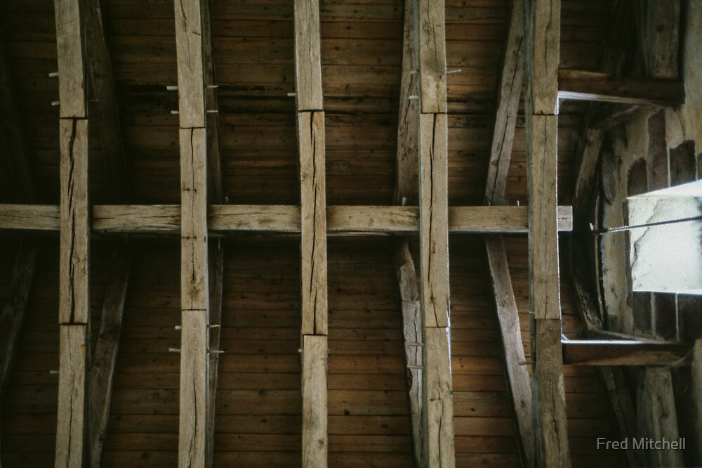 Ceiling timbers dining room monastery Fontenay France 19840504 0021 by Fred Mitchell