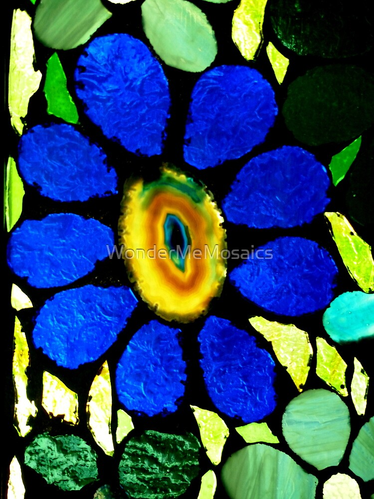 Blue Agate Flower - Mosaic Art by WonderMeMosaics