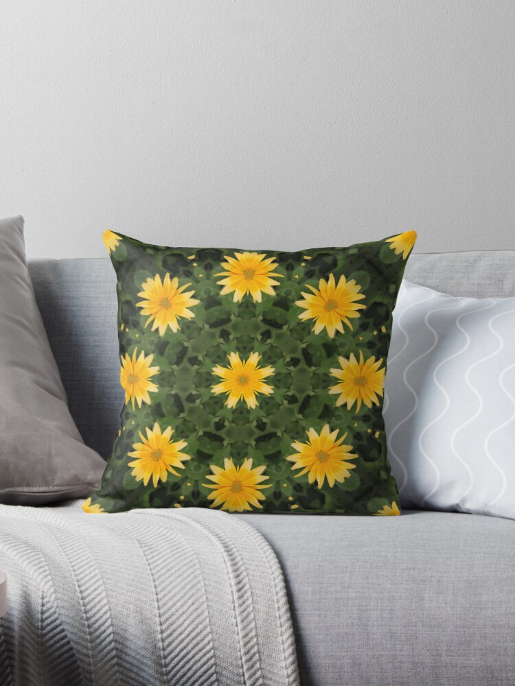 Throw Pillow     Yellow Flowers by NewfieKeith