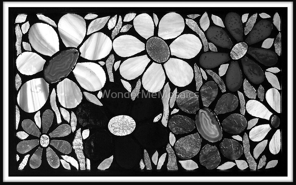 Garden of Flowers in B&W - Mosaic Art by WonderMeMosaics