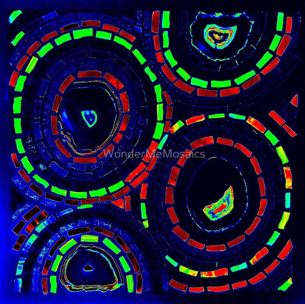 Stained Glass Agate Circles in Neon - Mosaic Art by WonderMeMosaics