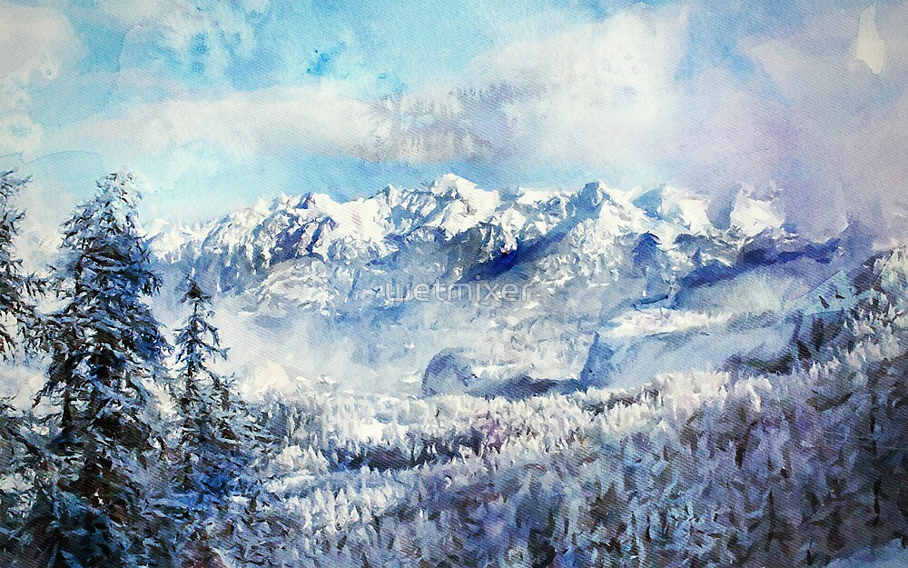Snow Capped Mountains by wetmixer