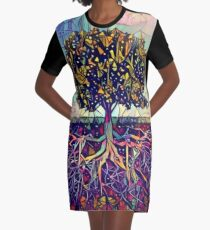 Abstract Tree of Life Graphic T-Shirt Dress