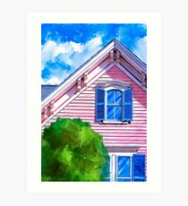 Classic Painted Lady Pink Victorian Home Art Print
