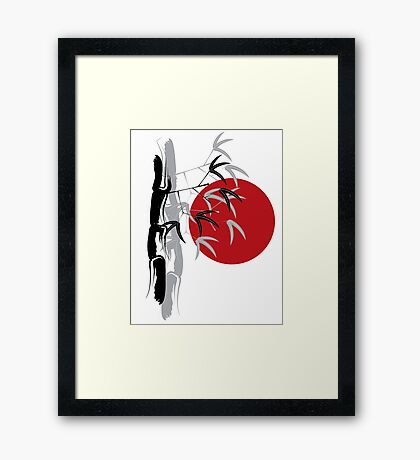 Oriental Zen Bamboo And Red Sunset Framed Print