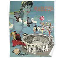 Madrid Iberia Spain Vintage Travel Poster Poster