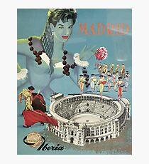 Madrid Iberia Spain Vintage Travel Poster Photographic Print