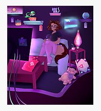Cat girl playing video game Photographic Print