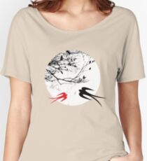 Oriental Swallows In Moonlight  Women's Relaxed Fit T-Shirt