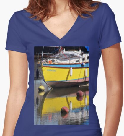 Yellow Boat Women's Fitted V-Neck T-Shirt
