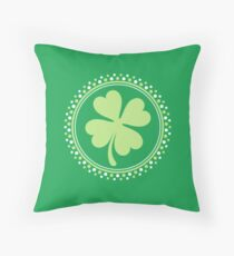 Four leaf clover St Patrick's day design Throw Pillow