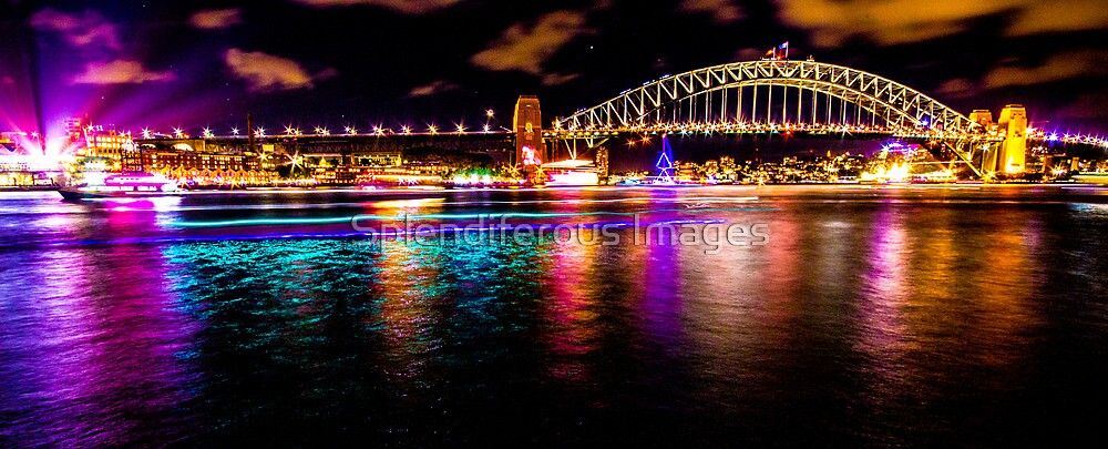 Purple, Aqua & Gold - Sydney Harbour Bridge by Splendiferous Images