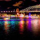 Purple, Aqua & Gold - Sydney Harbour Bridge by Splendiferous Images