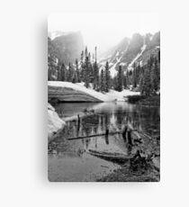 """""""Mirror Lake BW"""" RMNP Canvas Print"""