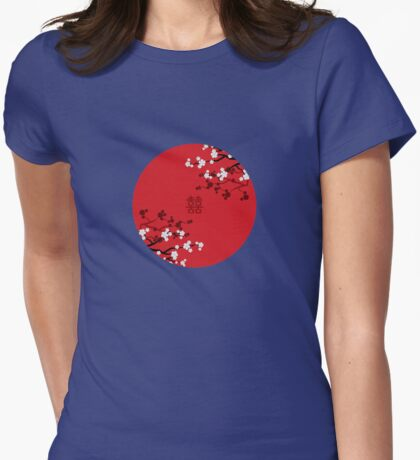 White Oriental Cherry Blossoms on Red and Chinese Wedding Double Happiness | Japanese Sakura  T-Shirt