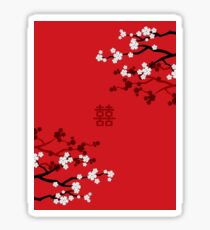 White Oriental Cherry Blossoms on Red and Chinese Wedding Double Happiness | Japanese Sakura  Sticker