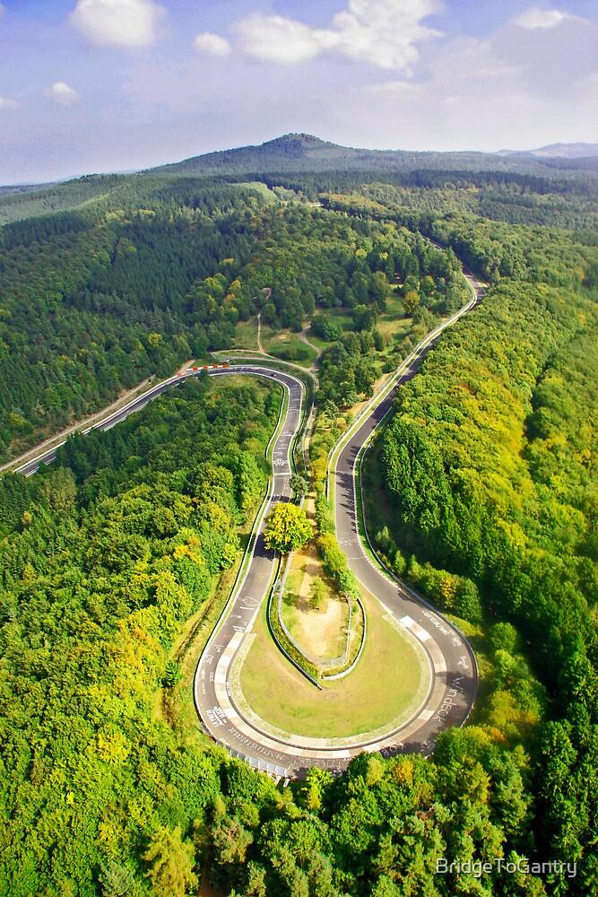 Aerial shot #3 of the Nürburgring Nordschleife Caracciola Karussell by BridgeToGantry