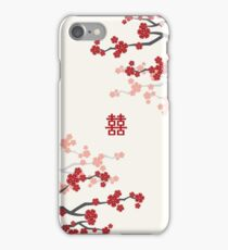 Red Oriental Cherry Blossoms on Ivory and Chinese Wedding Double Happiness   Japanese Sakura  iPhone Case/Skin