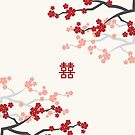 Chinese Wedding Double Happiness Symbol And Red Cherry Blossoms Sakura On Ivory by fatfatin