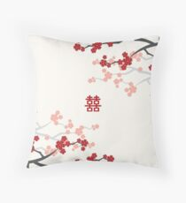 Red Oriental Cherry Blossoms on Ivory and Chinese Wedding Double Happiness | Japanese Sakura  Throw Pillow