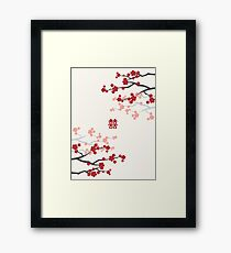 Red Oriental Cherry Blossoms on Ivory and Chinese Wedding Double Happiness | Japanese Sakura  Framed Print