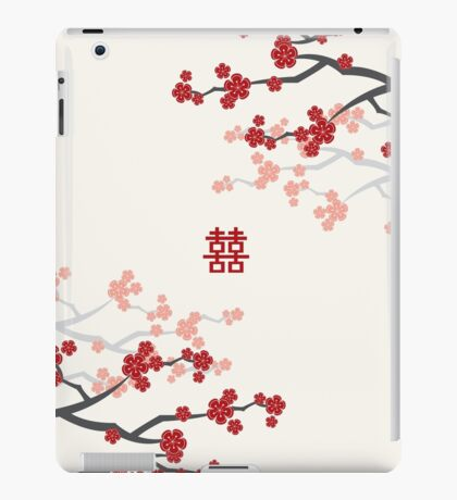 Red Oriental Cherry Blossoms on Ivory and Chinese Wedding Double Happiness   Japanese Sakura  iPad Case/Skin