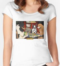Dogs Playing Settlers of Catan Women's Fitted Scoop T-Shirt
