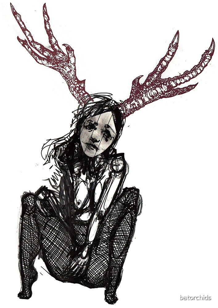 Red antlered girl  by batorchids