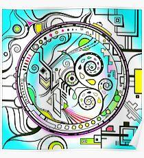 Brain L-R Harmonizer Mandala blue Poster