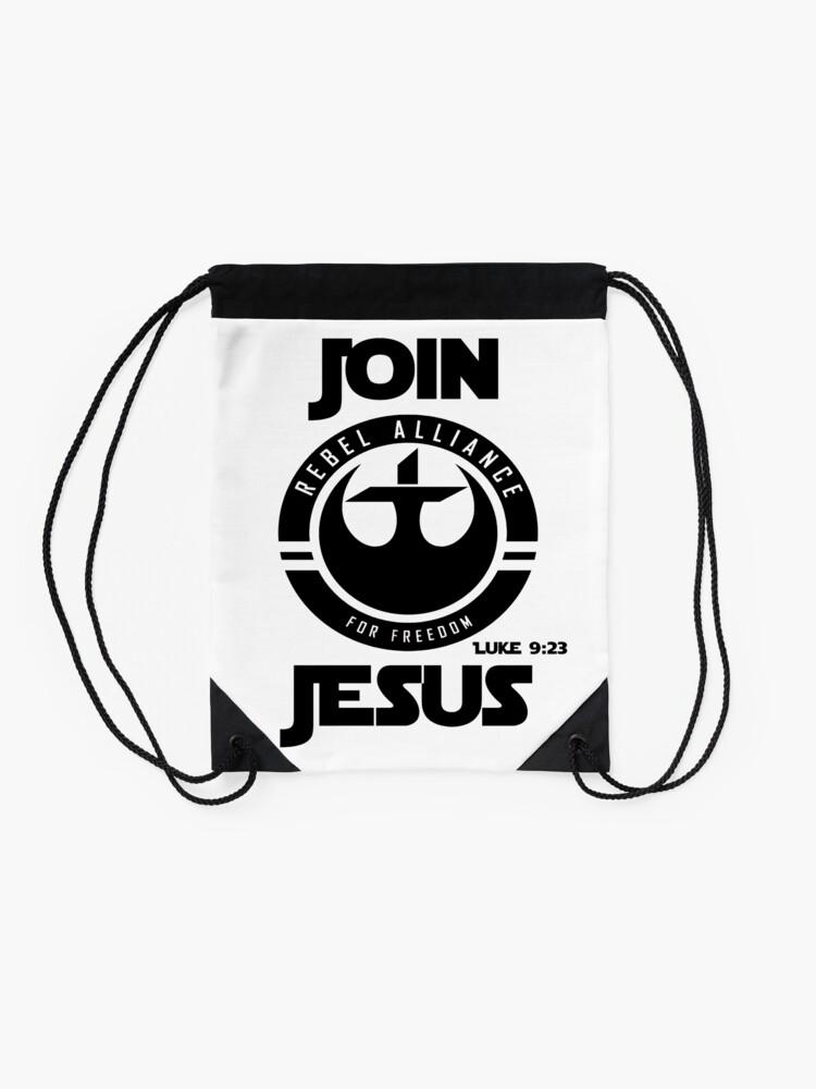 Alternative Ansicht von Komm zu Jesus Turnbeutel