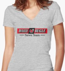 Daily Bugle News Team  Women's Fitted V-Neck T-Shirt