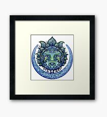 Blue Spiritual Sun and Moon Framed Print