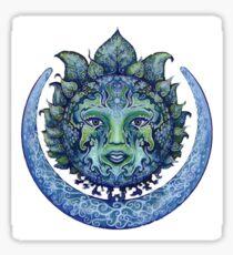 Blue Spiritual Sun and Moon Sticker