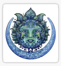 Blue Spiritual Sun and Moon Sticker