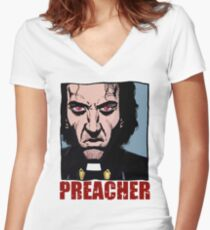 Preacher is mad Women's Fitted V-Neck T-Shirt