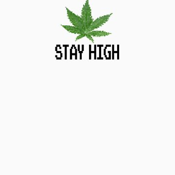 8-Bit Marijuana Leaf 'Stay High' Design by russlenerds